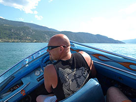 Mike Driving his Speed Boat